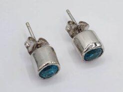 Arracades 925 de plata esterlina de zircó blau